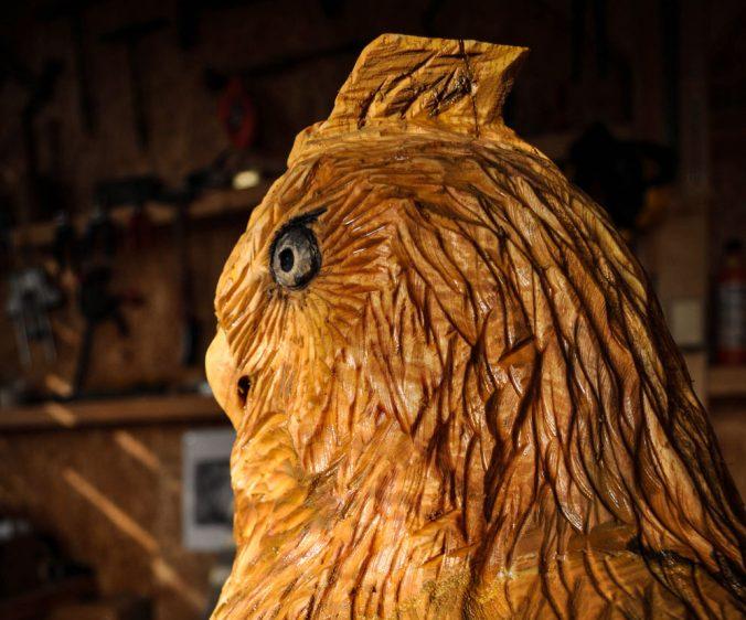 výr velký dřevořezba